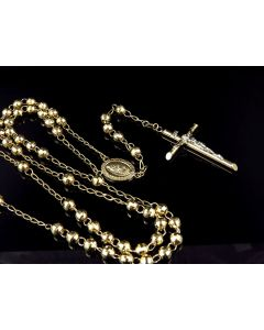 10K Yellow Gold Diamond Cut Beads 5 MM Rosary Necklace Chain 26+6 Inches