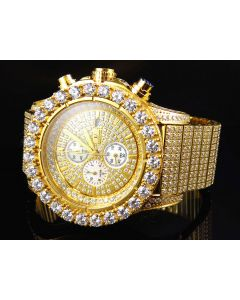 Iced Out Stainless Steel Simulated Diamond Watch BR-01 In Yellow Gold Finish 48MM