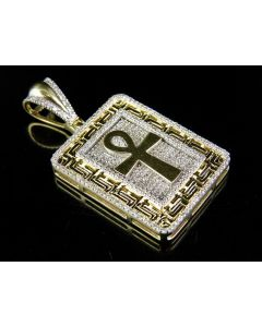 10K Yellow Gold Greek Key Medallion Ankh Cross Diamond Pendant 0.70 Ct 1.5""