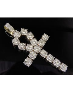 10K Yellow Gold Real Diamond Ankh Cross Pendant 5.15 CT 3""