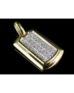Men's 10K Yellow Gold DogTag Diamond Pendant 0.45 Ct 1.25""