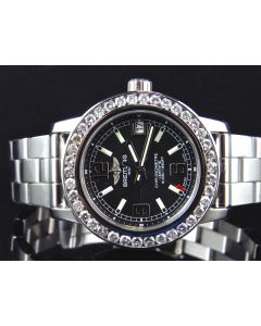 Custom Ladies Diamond Breitling Aeromarine Colt 33 A77387 Watch 2.5 Ct