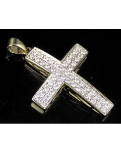10K Yellow Gold Real Diamond Dome Cross Pendant 1/2 CT 1.25""