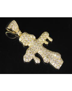 10K Yellow Gold Real Diamond Drip Cross Pendant 2.85 CT 1.75""