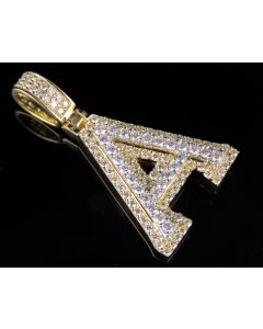 10K Yellow White Gold Real Diamond Custom 3D Initial A Letter Pendant 1.55 CT 1.5""