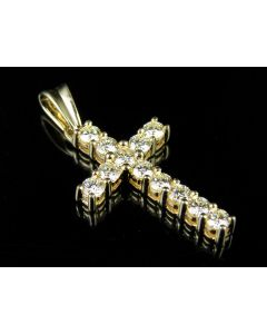 Real 10K Yellow Gold Solitaire Diamond Cross Pendant 1 CT 1.25""