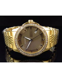 Mens 38 MM Gucci Diamond Watch in Yellow Gold Finish (2.25 Ct)