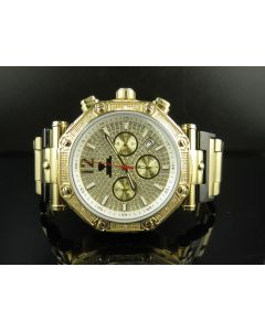 Mens Aqua Master Yellow Finish Illusion Dial Diamond Watch W#147-89-11 0.24 Ct