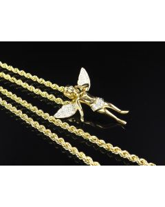 Hollow Rope Chain 3.0 MM in 1/10th 10K Yellow Gold