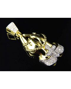 "Genuine Diamond Prayer Hands With Rosary Pendant In Yellow Gold Finish 1.25"" (0.33ct)"