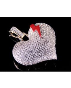 10K Yellow Gold Real Diamond Red Beating Heart Emoji Pendant 0.75 CT 1.2""