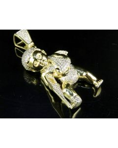 Men's 10K Yellow Gold Diamond Fallen Angel Pendant 0.92 CT 1.8""