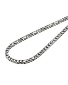 Solid 10K White Gold 3MM Wide Franco Box Link 24-36 Inch Chain Necklace