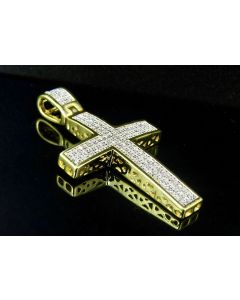 "Sterling Silver Yellow Gold Finish Real Diamond Dome Cross Pendant 1.6"" 0.50ct"