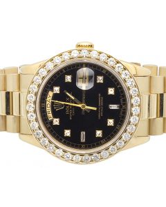 Rolex President 18k Yellow Gold Day-Date President with Diamond Bezel (4.5 ct)