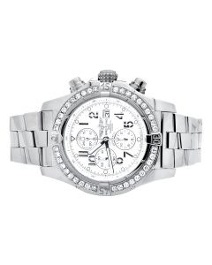 Custom Breitling A13370 Super Avenger White Dial S.Steel with Diamonds (4.5 Ct)