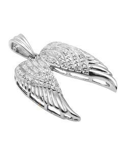 White Gold Finish Open Angel Wings 1.25 Inch Diamond Pendant 0.25ct