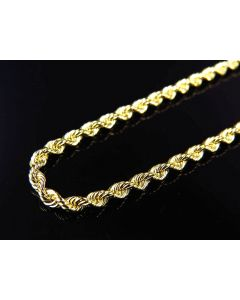 Solid Bonded Rope Chain 2 MM in 1/20th 10K Yellow Gold