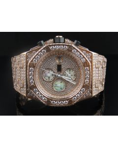 Mens Jewelry Unlimited Rose Gold Simulated Diamond Watch 43MM