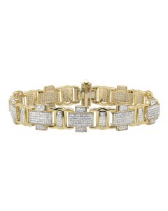10K Yellow Gold Pave Block Cross Link Statement Bracelet 4.5ct