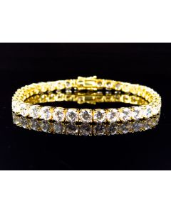Yellow Gold Over Sterling Silver Large Lab Diamond Bracelet 4.8MM
