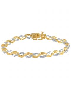 Ladies Infinity Style Yellow Gold finish brass Bracelet Diamond Accents 0.02ct