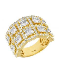 Ladies Yellow gold Baguette Diamond Two Row Halo Band 3CT