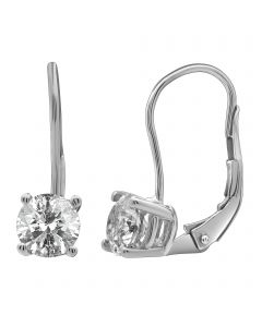 14K White Gold Real Diamond Solitaire LeverBack Earrings 1.50ct