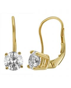 14K Yellow Gold Real Diamond Solitaire LeverBack Earrings 2.0ct