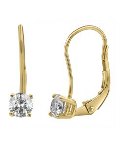 14K Yellow Gold Real Diamond Solitaire LeverBack Earrings 0.25ct