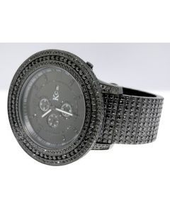 Techno Com Black Simulated Diamond Watch