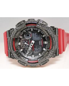 Mens Red XL Casio G-Shock GA-100 Black Simulated Diamond Watch 5.5 Ct