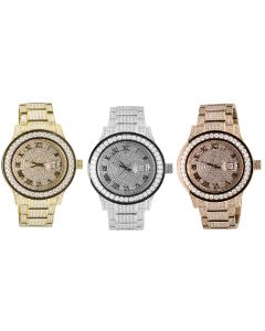 Jewelry UInlimited Rose Yellow White Gold Plated Similated Diamond Watch 45MM