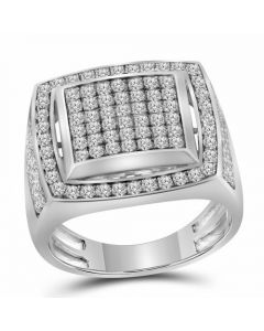Mens 10K White Gold Square Pinky Diamond Ring 2.0 Ct
