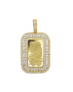 24K Yellow Gold Lady Fortuna 10 Grams Coin Diamond Pendant 3.25 Ct