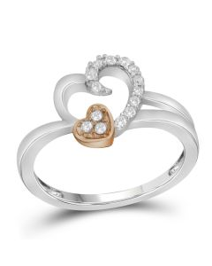 Ladies 10K Two-tone Gold Heart Real Diamond Fashion Ring Band 0.16ct