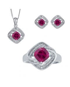 White Gold Finish Ruby Ring Necklace and Earrings Set