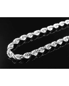 10K White Gold Solid Rope Chain 4MM 18-28 Inches
