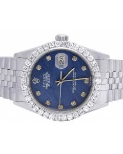 Mens Rolex Datejust 36MM Blue MOP Dial Diamond Watch 3.0 Ct