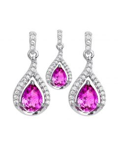 10k White Gold Pink Sapphire and Diamond Earrings and Pendant Set (0.35 ct)