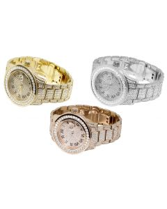 Ice Out Jewelry UInlimited Rose Yellow White Gold Plated Similated Diamond Watch 45MM