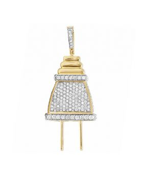 10K Yellow Gold Real Diamond 3D Plug Pendant Charm 4.0ct 2.2""