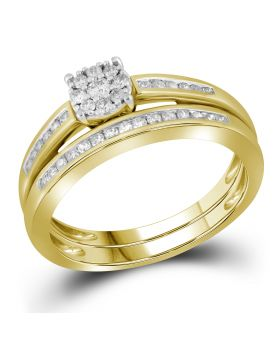 Ladies 10K Yellow Gold Real Diamond Channel Solitaire Cluster Engagement Ring Set 0.35ct