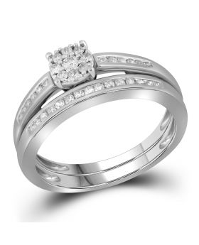 10K White Gold Two Piece Real Diamond Ring Set 0.35ct