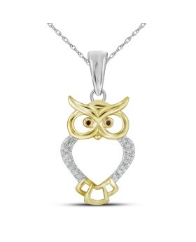 10K Yellow Gold Owl Pendant with 0.05 CT Diamonds
