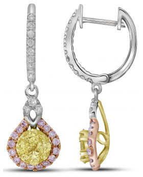 14K White Gold Teardrop Cluster Earrings with .996 CT White and Yellow Diamonds