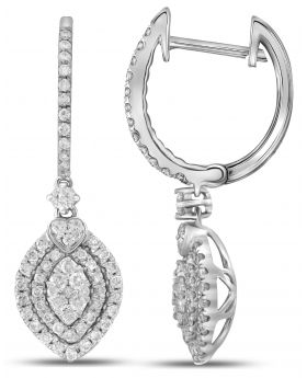14K White Gold Ladies Dangle Drop Earring 1ct 32mm