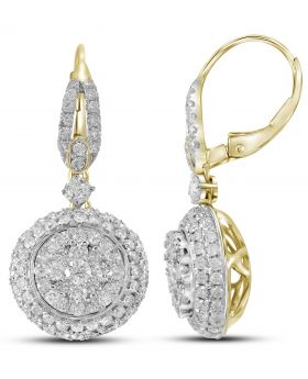 14K Yellow Gold Circle Tier Earring with 2.195 CT Diamonds