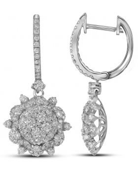 14K White Gold Snowflake Earrings with 2.27 CT Diamonds