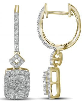 14K Yellow Gold Square Earrings with 0.82 CT Diamonds